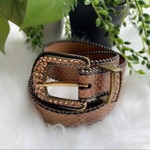 CACHE | Brown Leather Rhinestone Buckle Belt